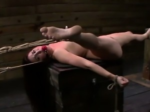 Bound slave brutally fucked