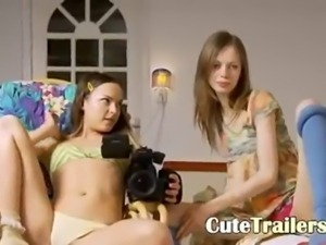 Two skinny teenagers opening vaginas