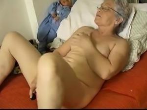 Horny Old chubby Granny Masturbating with dildo