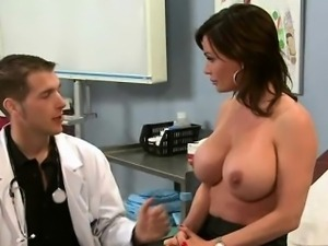 Slutty brunette fucks her doctor