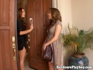 Lesbian glamour MILF eats babes pussy free