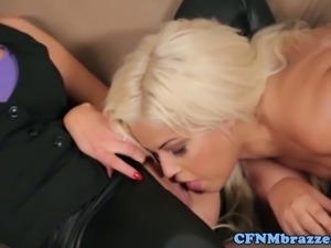 CFNM milfs take turn on young dudes cock on the couch
