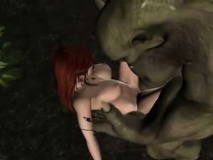 3D cartoon elf gets fucked in the woods by an orc