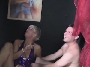 A couple of swinger ladies go down and bend over for young