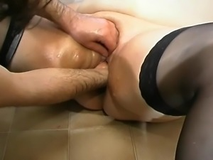 Piggy Mature slut gets a rough fetish treatment...with brutal fisting and...
