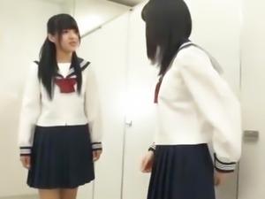 Schoolgirls enjoying one large dick