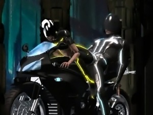 3D Tron babe sucks cock and gets fucked hard
