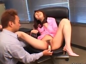 Impeccable Japanese girl boned with a dildo