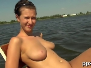 Beauty receives a lusty and racy offering from horny dude