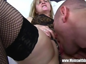 Mature Maid Fucks Son On Sofa After Catching Him With Porn