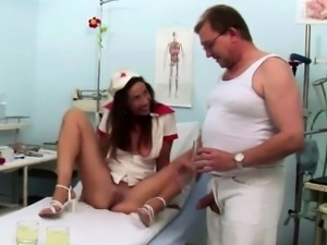 Brunette nurse got caught sucking old doctors cock