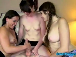 Jerking loving teenagers spoiling dick