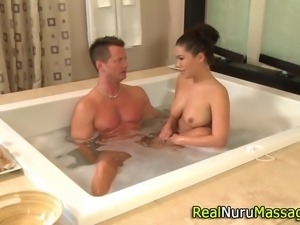 Asian masseuse titfucks and sucks client in hi definition