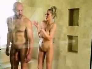 Busty blonde masseuse handjob