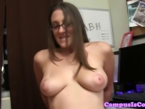 Busty party coed with glasses riding cock and receive facial