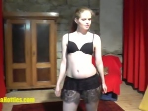 Amateur blonde slut poses in black lingerie
