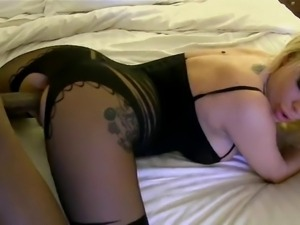 Interracial creampie with sexy bodystocking