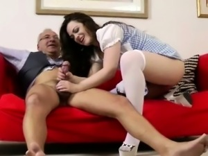 Glamorous brunette assfucked by old man