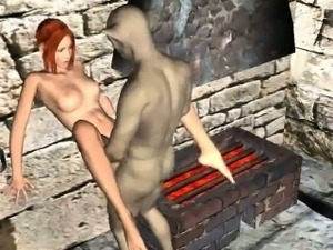 3D redhead sucks cock and gets fucked by a goblin