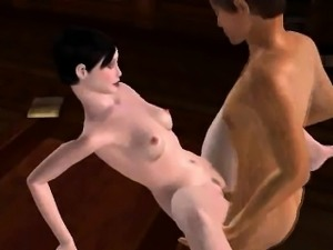 Hot 3D cartoon brunette gets licked and fucked