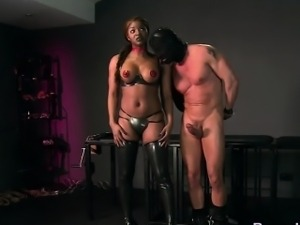 Ebony mistress fucks her slave with gimp mask