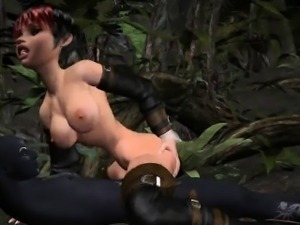 3D babe gets fucked in the woods by a monster