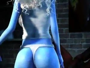 3D blue babe sucking on Deadpools rock hard cock
