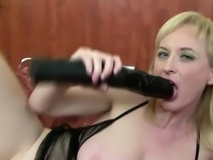 black cock and a black dildo for blonde milf