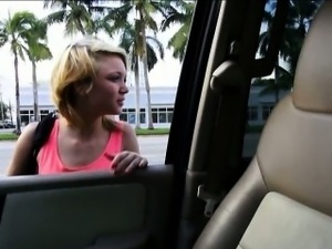 Cute teen Dakota Skye gives head and nailed in the car