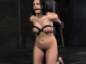 Suspended sub shackled and spanked