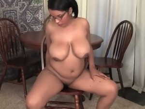 Chubby ebony Natalia caressing her wet black clit