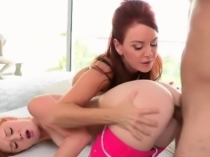Stepmom Janet conducts a threesome sex