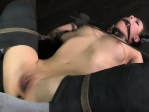 Frogtied sub caned and gagged by master