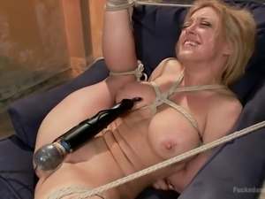 blonde bitch bounded, suspended and banged