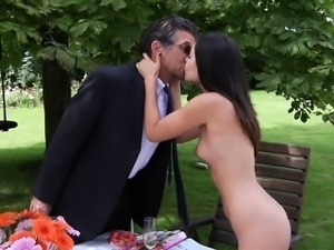 Rich older guy fucks his horny young wife in the backyard
