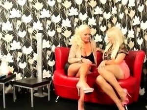 Three nasty milf get horny on the sofa and