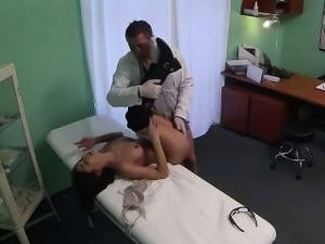 Brunette patient getting fucked hard by her doctor