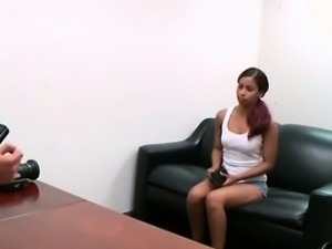 Cute ebony babe goes crazy