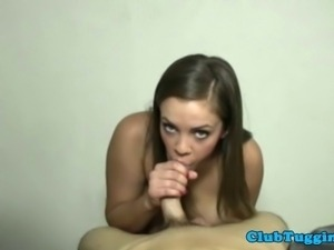 Tug job loving big titted brunette jerks