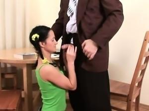 Elderly teacher pleasured by luscious teen