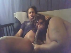 Fat ebony wife blowing hard rod