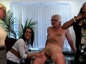 British ladies get revenge on CFNM office perve