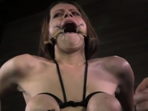 Tit bonded bdsm sub dildo penetrated