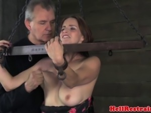 Fetish bondage busty babe clothes cut off