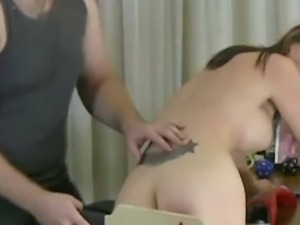 Naughty brunette gets her sweet booty spanked