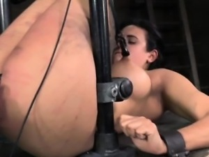 Nipple clamped slut getting caned