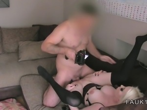 Busty British blonde amateur anal banged on casting