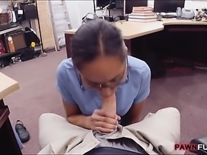 Desperate nurse in glasses pussy screwed up by pawnkeeper