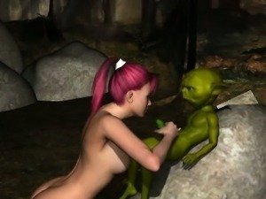 3D babe sucking and tugging on Yoda\'s hard cock