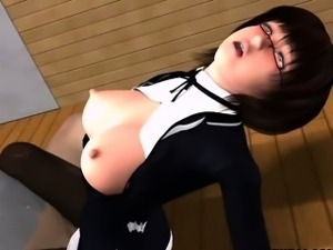3D girl get pounded by toy and by bald stranger